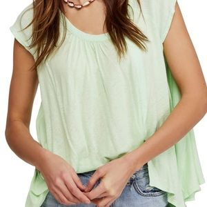 NWT Free People Solid Green Flowy Short Sleeve top